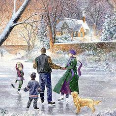 Familienglück...Winter um 1970 Aquarell