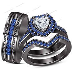 Heart & Round Cut 925 Silver Sim Diamond & Blue Sapphire His/Her Trio Ring Set #WeddingEngagementAnniversaryBrithdayGiftGift