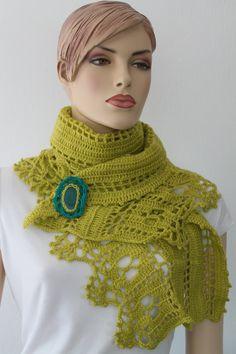 Abrigo chal Crochet verde amarillo robó con broche por levintovich