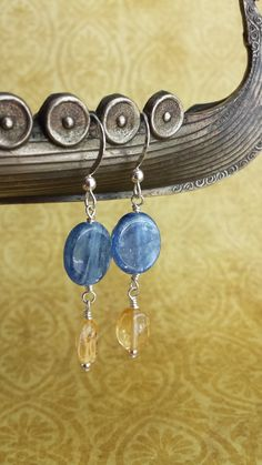 Citrine, Kyanite, and Sterling Silver shine in these awesome earrings. Bright colors/ blue and yellow .925 sterling silver natural gemstones...