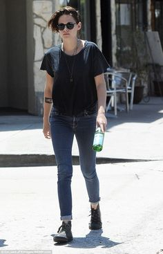 Casually cool: Kristen was seen making their way through the trendy Loz Feliz area in Los Angeles after grabbing lunch together in Little Dom's restaurant