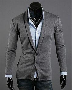 Fashionable Slim Button Decoration Leisure Men Suit