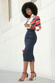 Pencil skirt. Red and navy blue work outfit.