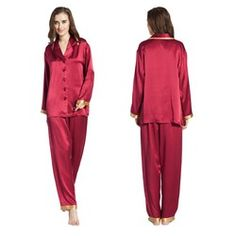 a85edb7b65 22 Momme Full-Length Silk Pajamas Set Sleepwear Women