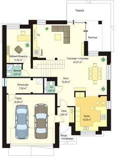 Проект современного двухэтажного коттеджа с гаражом на два автомобиля S8-273 (Кассиопея 7). План 1. Shop-project 257, Two Story Homes, Home Projects, Townhouse, House Plans, Sweet Home, Floor Plans, House Design, Flooring