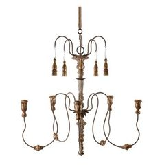 Grace 5 Candle Curled Iron French Country Candle Chandelier