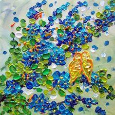 Fine Art. Amazing, love it!!!  LOVEBIRDS Blue Flowers Original Modern Impasto Oil by LUIZAVIZOLI,