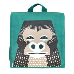 Sac à dos enfant maternelle en coton bio motif gorille / Kids backpack for school made out organic cotton with gorilla graphic / www.coqenpate.com #rentreescolaire #backtoschool #saveourspecies