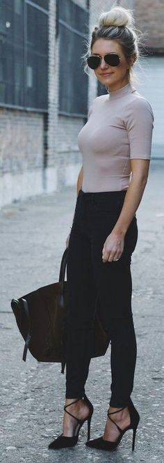 #casual #outfits #street #style #fashion #inspiration | Blush Top + Black Denim | Somewhere, Lately Source