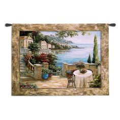 Mediterranean Terrace II Wall Tapestry - 54W x 41H in. - 5300-WH