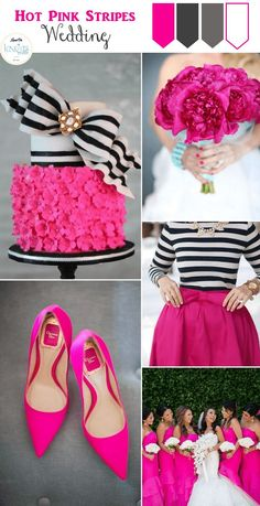 a popular color/theme combination but one that never gets old. See our Hot Pink Stripes Wedding Inspiration board.Quite a popular color/theme combination but one that never gets old. See our Hot Pink Stripes Wedding Inspiration board. Kate Spade Party, Kate Spade Bridal, Kate Spade Cake, Wedding Themes, Wedding Colors, Wedding Ideas, Wedding Blog, Wedding App, Wedding Cakes