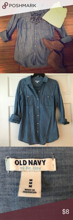 Jean Button Up Only worn once! Old Navy Tops Button Down Shirts