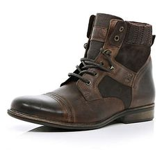 Dark brown contrast panel military boots $90.00 river island