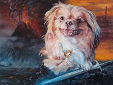 Lord of The Rings Fantasy Custom Dog Painting by puciPetPortraits