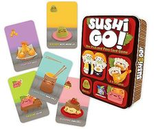 Sushi Go! - The Pick and Pass Card Game Description Pass the sushi! In this fast-playing card game, the goal is to grab the best combination of sushi dishes as Fun Card Games, Playing Card Games, Fun Games, Games To Play, Awesome Games, Dice Games, Learning Activities, Sushi Go, Sushi Time