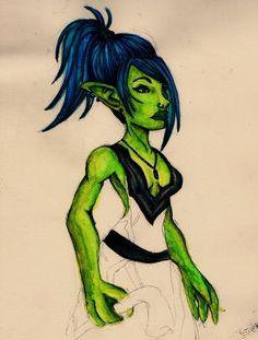 Goblin inspired on World of Warcraft games Hope you like it. i wish finish it soon. ---- Una goblin del World of Warcraft, la estoy coloreando a acuarela y al escanearla se le va to el color xD es ...