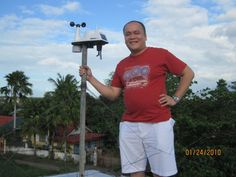 Michael Padua, up on the roof with his newest weather station, a Davis Vantage Vue.