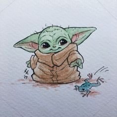 My collegue loves baby yoda so much I painted her this as a secret santa gift Animal Sketches, Art Drawings Sketches, Cartoon Drawings, Easy Drawings, Star Wars Desenho, Yoda Drawing, Star Wars Drawings, Cute Disney Drawings, Star Wars Art