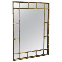 Faux Bamboo Gilt Mirror in the Manner of Maison Bagues 1