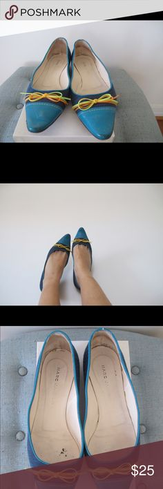 marc by marc jacobs retro pointed toe flats made in italy  color navy blue quilted material- bright blue leather toe & trim - neon yellow & neon orange laniard trim on front  some natural signs of wear                                         shop vintage @ shadyville.etsy.com  → international buyers ← i offer international shipping. please message me before purchasing and i will set-up a custom listing for item(s) based on location. buyer is responsible for any import fees and/or taxes…