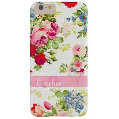 Girly Elegant Vintage Floral Personalized Barely There iPhone 6 Plus Case