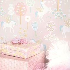 Papel pintado infantil Unicornio fondo rosa