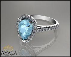 14K White Gold Pear Aquamarine Ring  engagement by AyalaDiamonds $1430