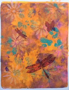 Art Journal, Journal page, Mixed media, gelli plate, leafs, acrylic paint, acrylverf, stamping, Michael Strong, dragonfly, libelle, butterfly, vlinder, zig clean color real brush
