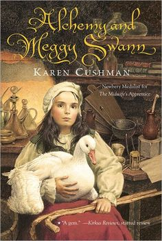Meggy Swann, newly come to London with her only friend, a goose named Louise. Meggy is appalled by London,dirty and noisy, full of rogues and thieves, and difficult to get around in—not that getting around is ever easy for someone who walks with the help of two sticks.Just as her alchemist father pursues his Great Work of transforming base metal into gold, Meggy finds herself pursuing her own tran
