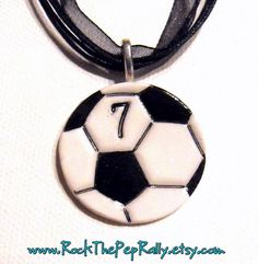Items similar to Soccer Ball Necklace Personalized with Player's Number - School or Team Spirit, Spiritwear, Gifts for Soccer Players, Soccer Mom, Futbol on Etsy Kids Soccer, Soccer Party, Soccer Fans, Football Fans, Soccer Players, Basketball Plays, Soccer Stuff, Soccer Coaching, Soccer Training