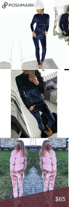 Navy blue crushed velvet two piece tracksuit Navy blue super soft and cozy two piece track suit. Fits true to size. Crushed velvet. Slim fit sweater and matching joggers. Trendy sweat suit, can be worn in the house or out! Must have lounge wear!! Pink shown for style and fit (also available in my store!)  Pants Track Pants & Joggers