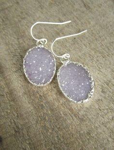 Lavender Druzy Earrings Drusy Quartz Sterling by julianneblumlo