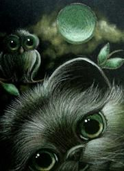 Art: *BLACK PERSIAN CAT & OWL HALLOWEEN NIGHT 9 by Artist Cyra R. Cancel