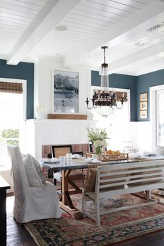 Dining room with a mix of traditional and beachy decor