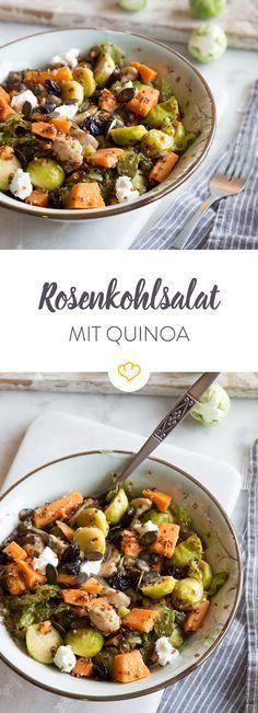 Grün und gesund - dieser Salat ist ein wahrer Nährstofflieferant. Nussig-würziger Rosenkohl trifft auf zartes Hähnchen und buttrige Süßkartoffeln.
