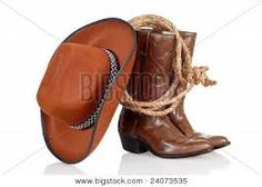 Cowboy hat and boot and lasso tattoo