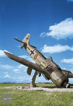 Damaged (and booby trapped) Fw-190 near Melsbroek, Belgium. Oct 1944 - pin by Paolo Marzioli