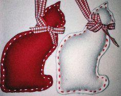 Gatto sentiva ornamento di Natale set di 2 di marilous su Etsy