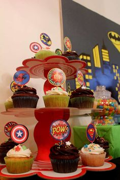 Cupcakes at a superhero birthday party! See more party planning ideas at CatchMyParty.com!
