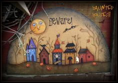 Painting With Friends E Pattern - Haunted Houses - Painted by Sharon Bond