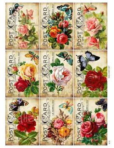 Victorian Roses with Butterfly on Old Postcard di GalleryCat