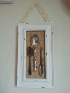 antique silverware burlap minus lace frame                              …