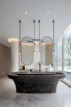 Washroom Design, Bathroom Design Layout, Bathroom Inspiration, Interior Design Inspiration, Wall Cladding Designs, Wc Design, Architecture Restaurant, Public Bathrooms, Hotel Interiors