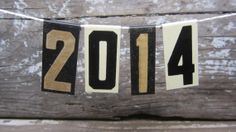 Small Vintage Metal Numbers 2014 Happy New Year's Banner Black & White Number Signs Hanging Banner From String Old Fashioned Metal Signs on Etsy, $15.00
