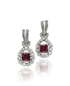 PAIR OF RUBY AND DIAMOND EARRINGS, BY TIFFANY & CO.