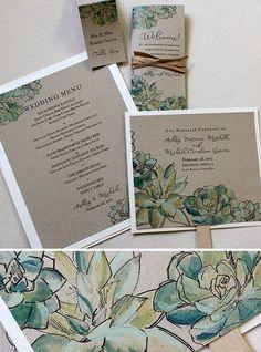 succulent wedding invitation kits