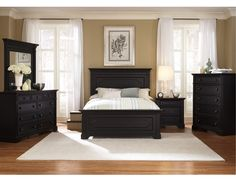 THE FURNITURE :: Black Rubbed Finished Bedroom Set with Panel Bed, 'Southern Cachet' Collection by Liberty Furniture.