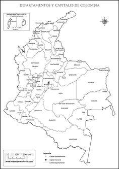 Mapa político de Colombia con nombres para colorear