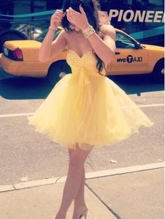 Cute Sweetheart Yellow Mini Tulle Prom Dress/Homecoming Dress