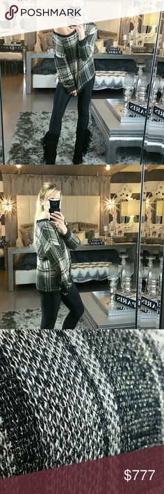 "Metallic Plaid print sweater Boutique: no tags  This sweater is perfect for the season!! Plaid print with gold metallic threading woven through out. Loose fitted and comfy! Pair with leggings and boots.  Small Length 22.5"" Large Length 23.5"" Material82%acrylic/18%lurex Sweaters"